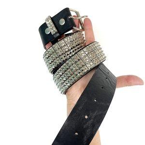 Black and Silver Studded Unisex Belt